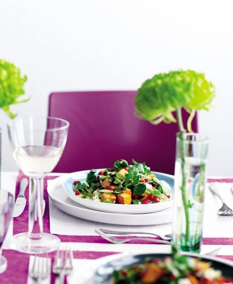 Pomegranate salad with a saffron tahini dressing