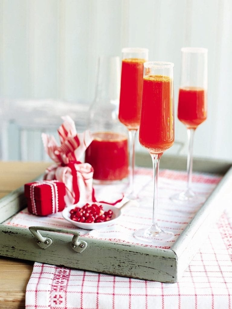 Clementine and Campari bucks fizz
