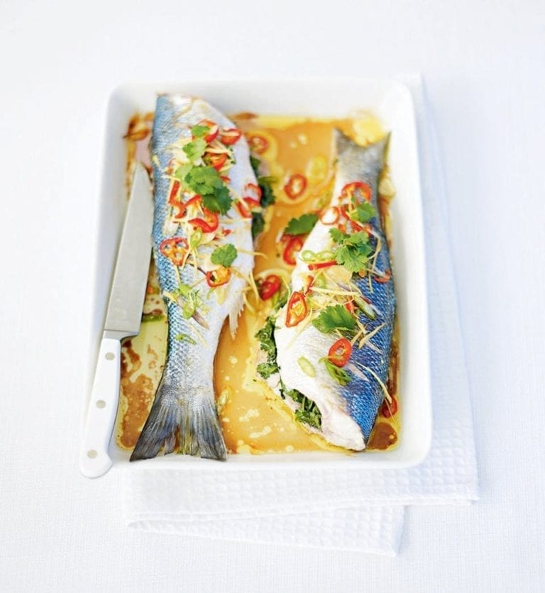 Asian baked sea bass
