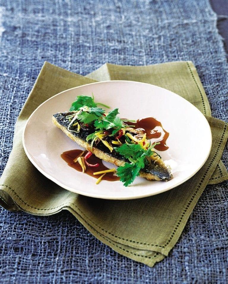 Thai ginger sea bass with mushrooms