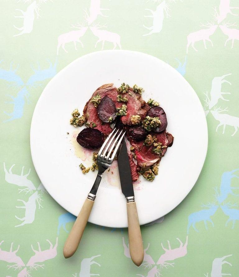 Roast venison, roast beetroot salad and bagnét