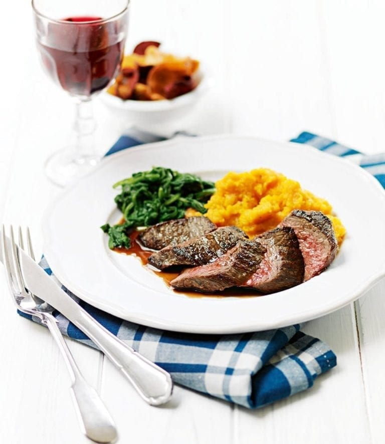 Pan-fried venison with squash and sweet potato