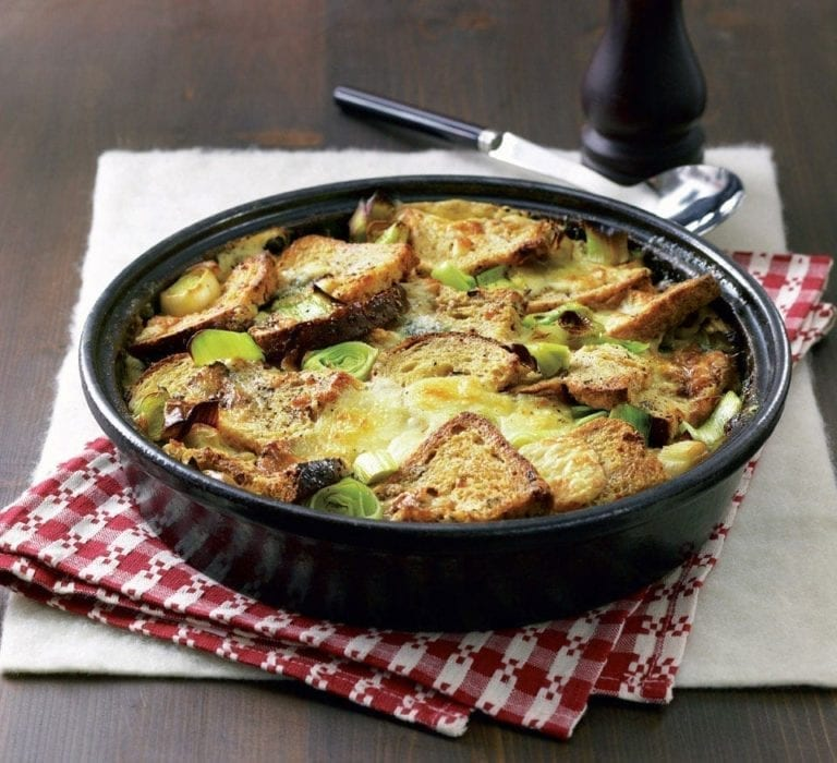 Stilton and leek bread and butter bake