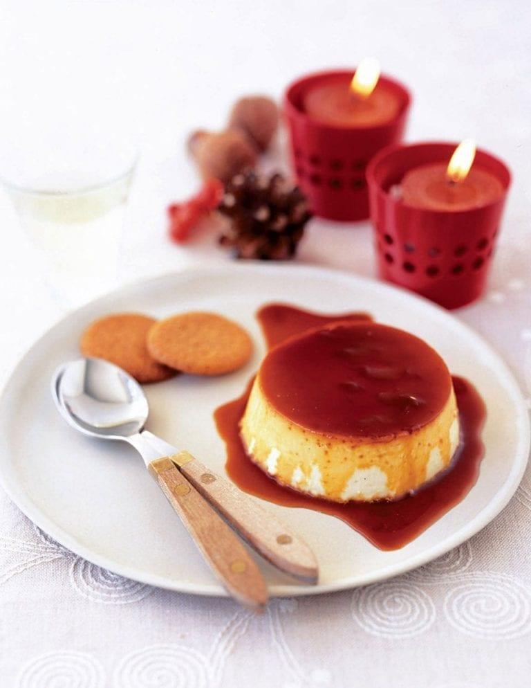Muscat wine crème caramels