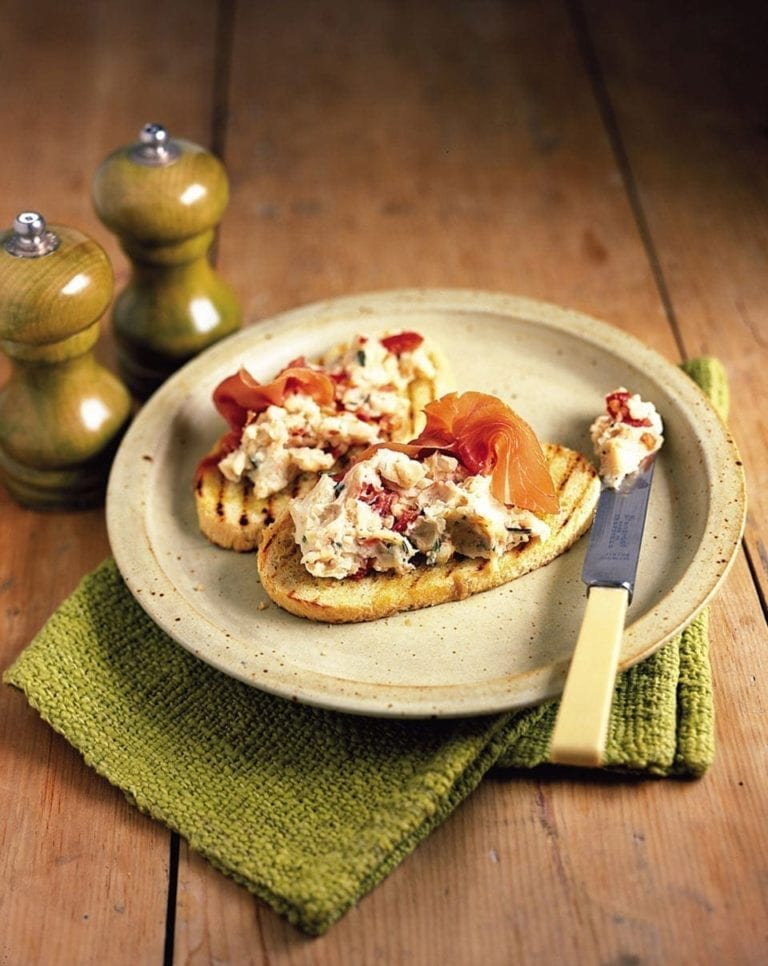 Cannellini beans and rosemary on bruschetta