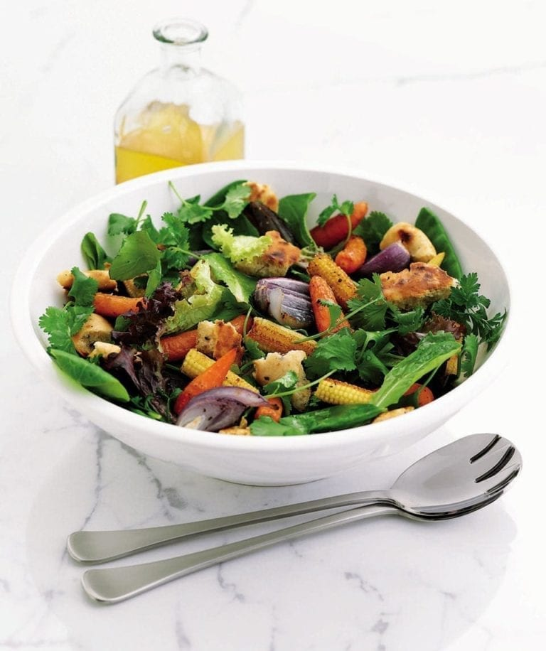 Roasted baby vegetable salad with croutons