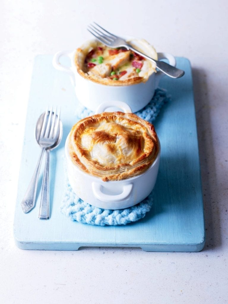 Chicken, pea and bacon pies
