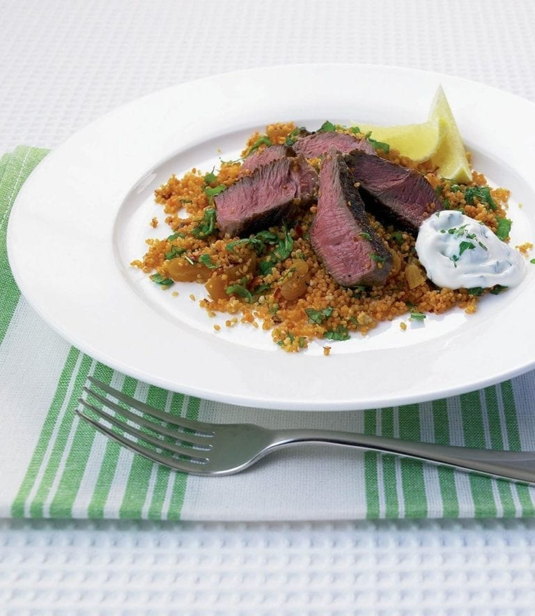 Lamb steaks with fruity spiced couscous