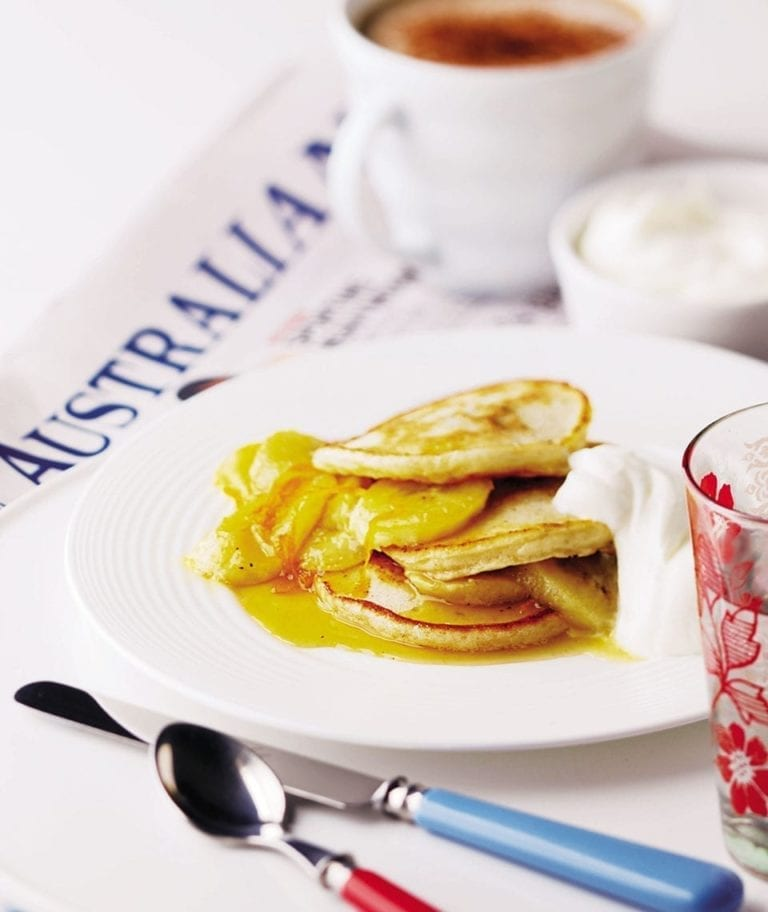 Buttermilk pancakes with honeyed bananas