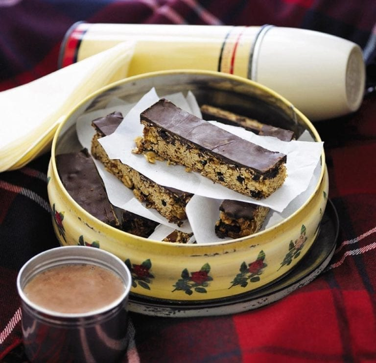 Fruity chocolate flapjacks