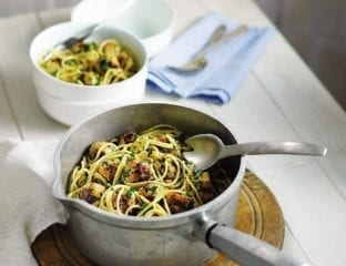 Sicilian turkey meatballs and pasta