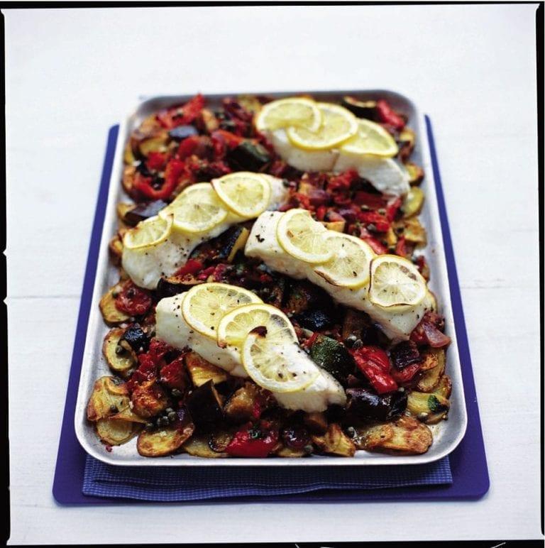 Halibut, ratatouille and new potato tray bake