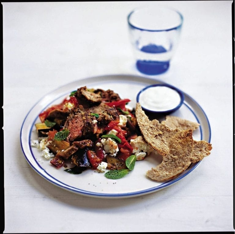 Fennel-spiked lamb with ratatouille, feta and mint