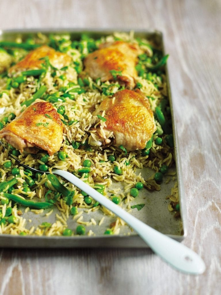 Biryani-style baked chicken and rice