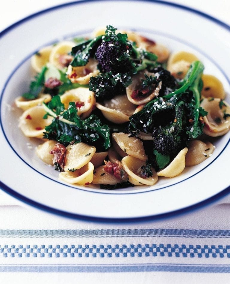 Orecchiette with purple sprouting broccoli