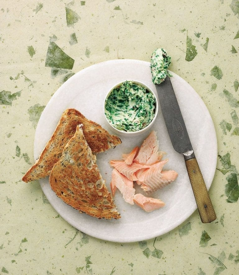 Hot smoked trout and green butter