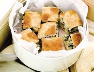 Vegetable, rice and feta tart