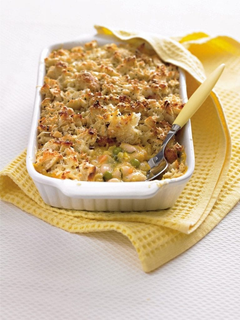 Vegetable bake with garlic bread topping