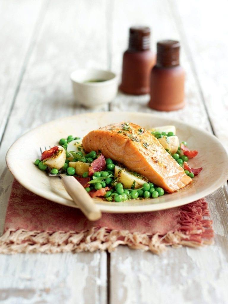 Warm salmon salad with potatoes, bacon and tarragon vinaigrette