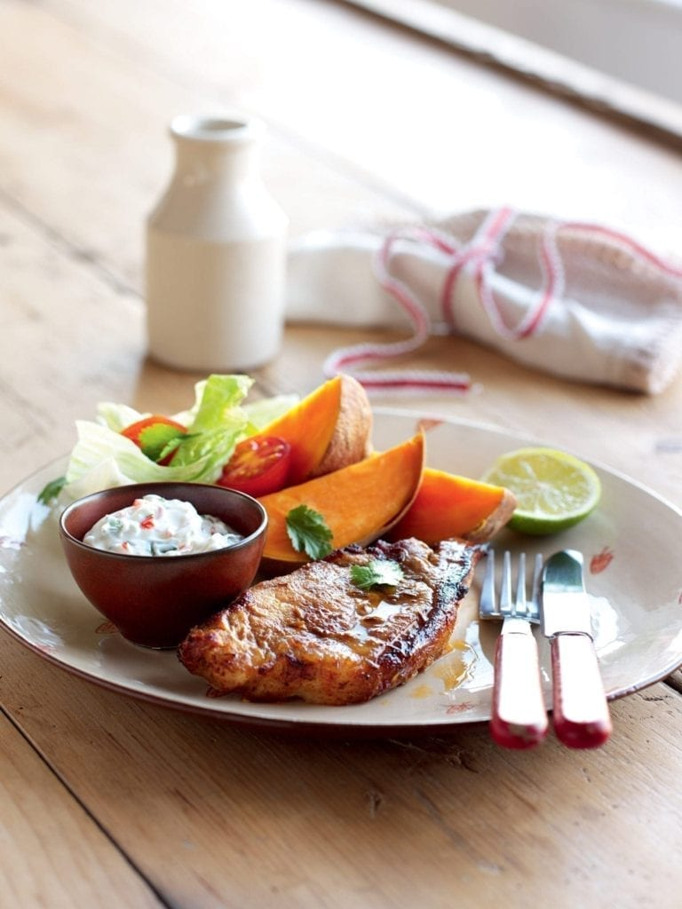 Mexican-style pork with sweet potatoes and lime yogurt