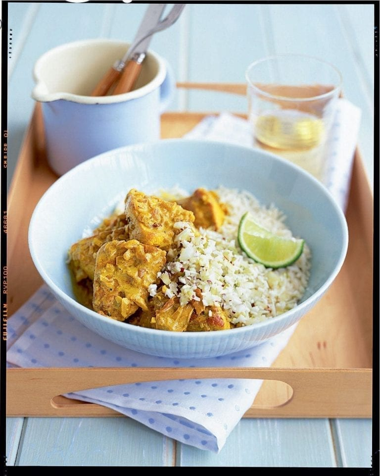Spiced chicken masala with coconut sambal
