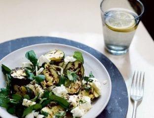 Lemon courgettes, feta and watercress salad
