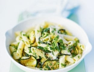 Penne with courgettes, herbs and Parmesan