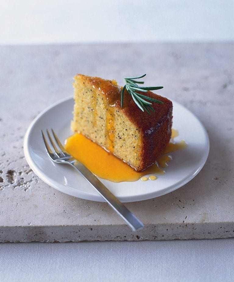 Orange polenta cake with rosemary and orange syrup