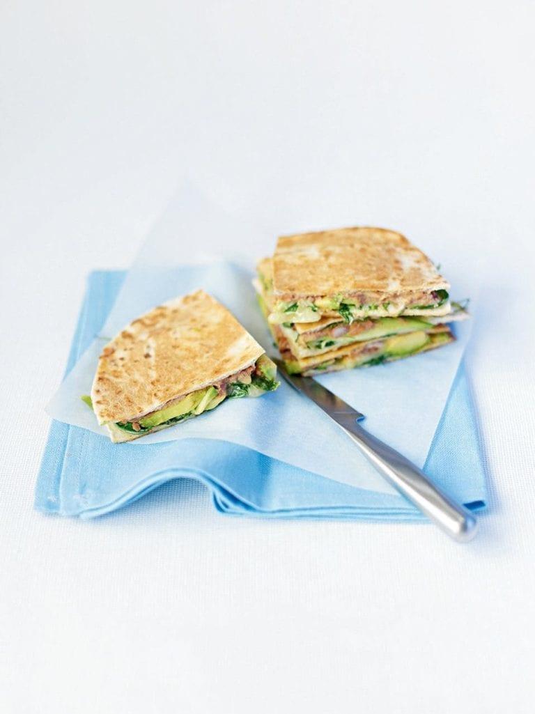 Avocado and cheese quesadillas