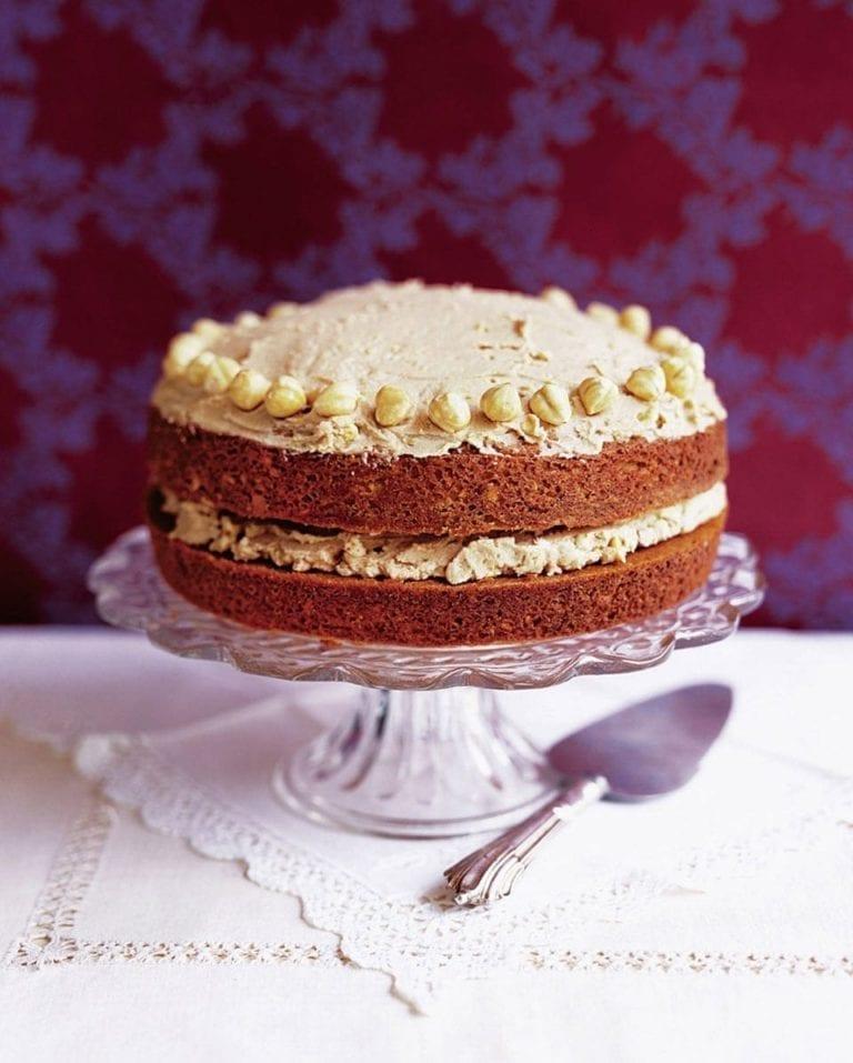 Mocha and hazelnut cake