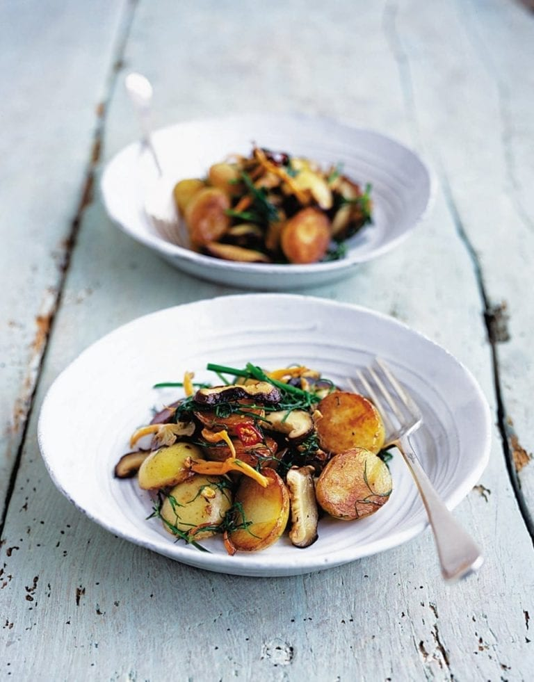Jersey royal potatoes and wild mushrooms