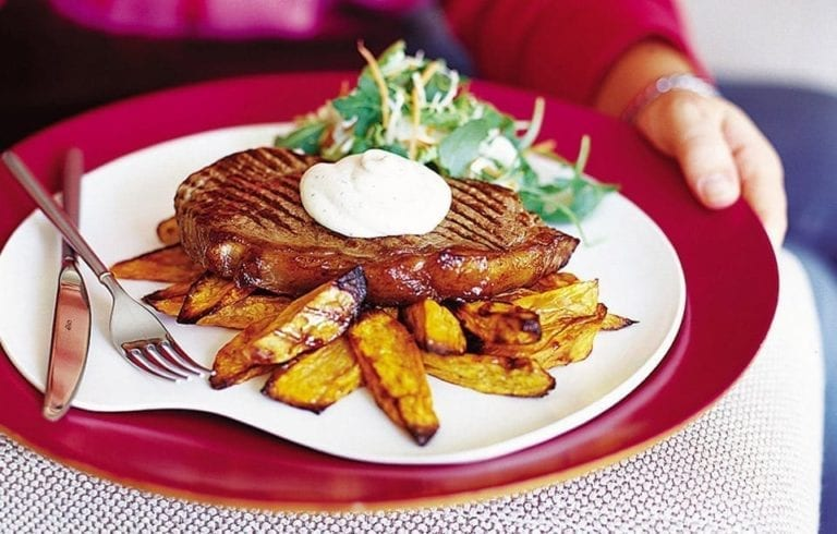 Steak with Boursin and sweet potato oven chips