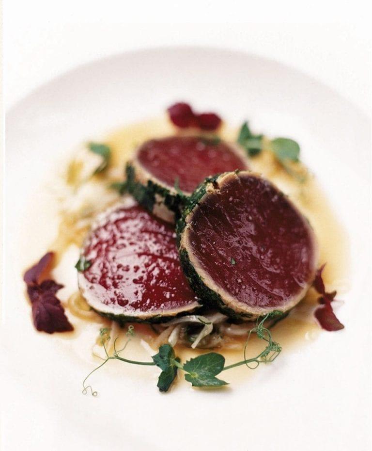 Herb-crusted loin of tuna with mooli