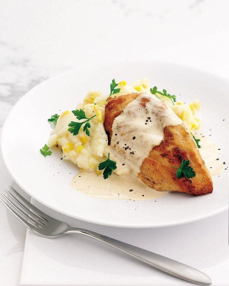 Cheat's southern fried chicken with cream gravy and sweetcorn mash
