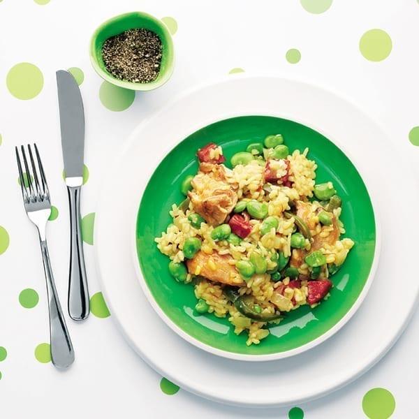 Chicken, broad bean and chorizo rice