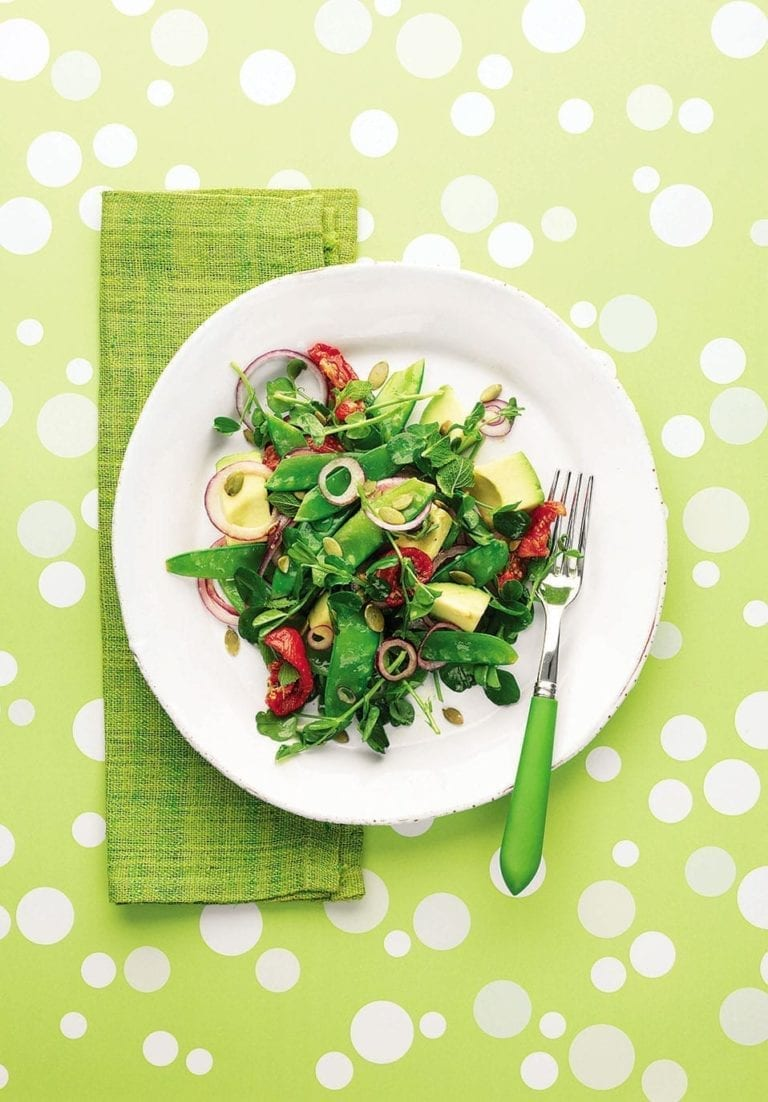 Mangetout and avocado salad