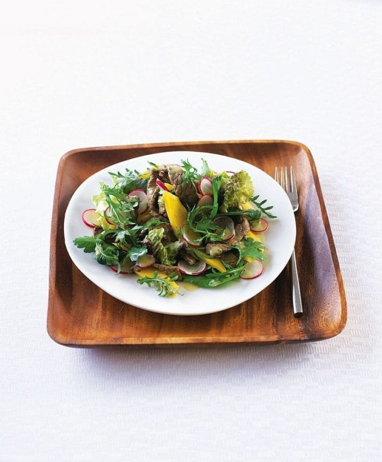 Seared steak, mango and radish salad