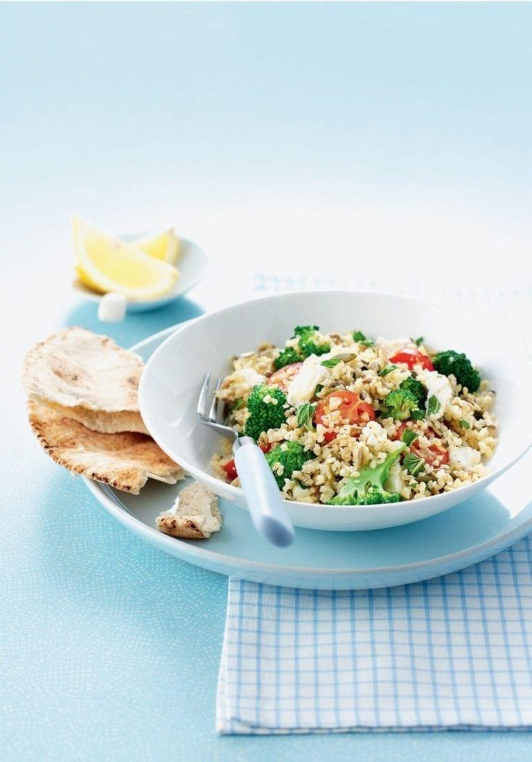 Feta, broccoli and mixed seed bulgur wheat salad