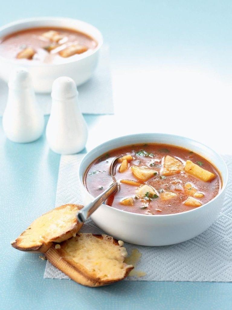 Easy bouillabaisse with Gruyère croùtes