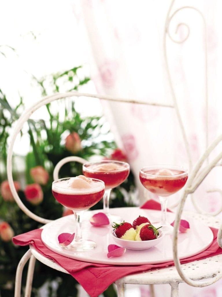 Sparkling sorbet float cocktail