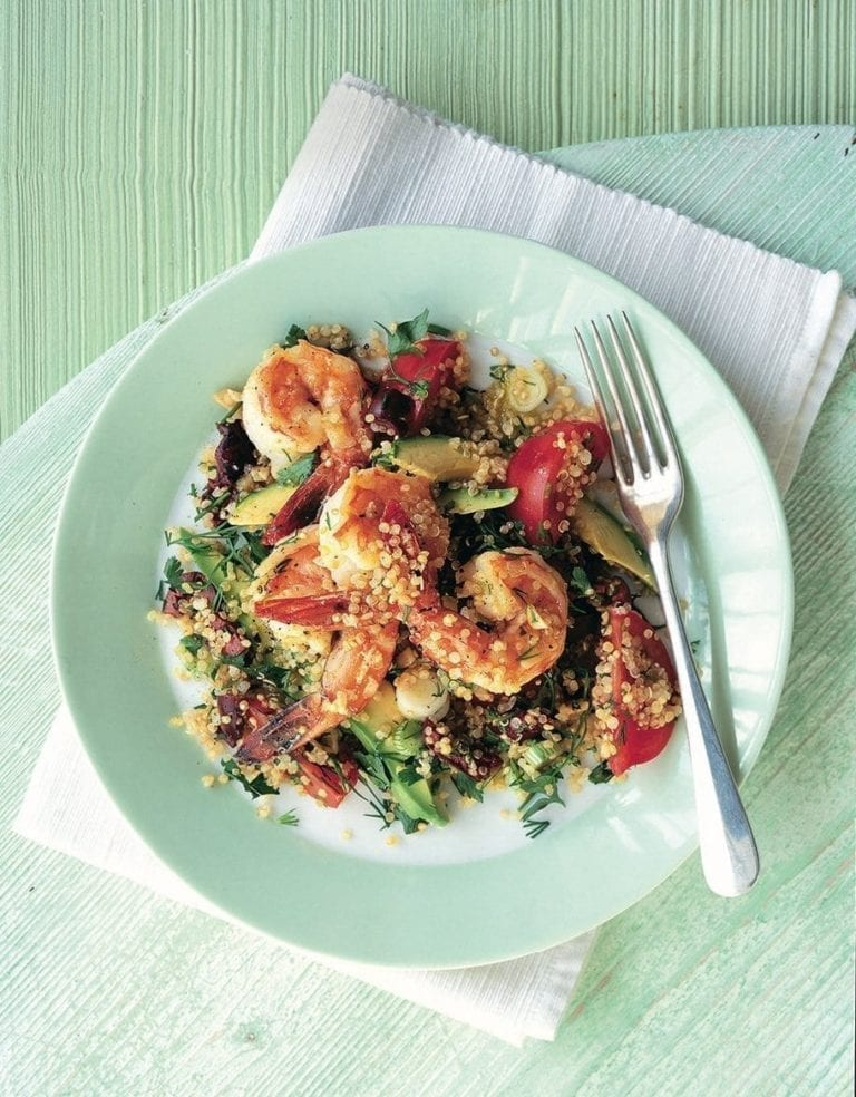 Prawn and avocado quinoa salad