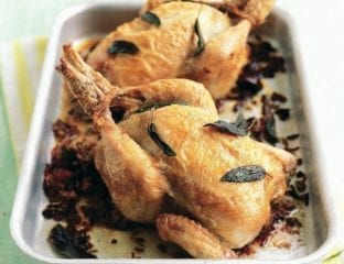 Chorizo, wild and red rice-stuffed poussin