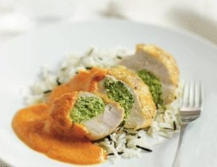 Chicken with asparagus and rice
