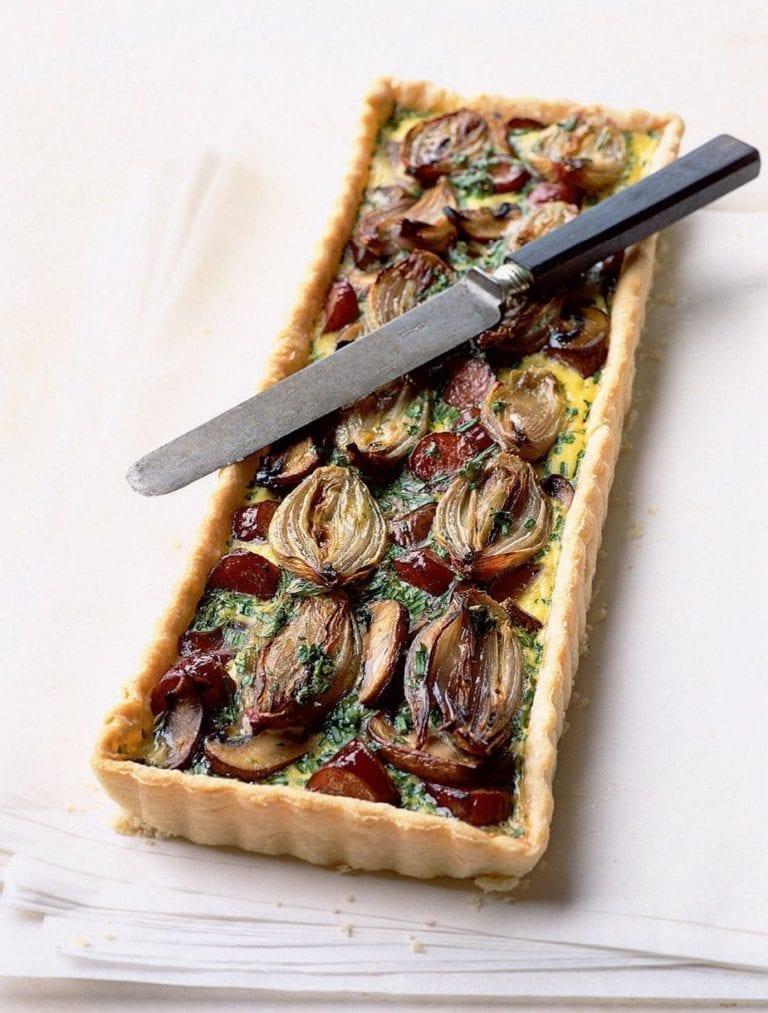 Roasted shallot, mushroom and smoked sausage tart