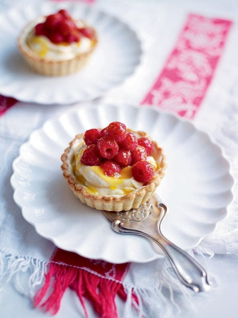Glazed raspberry and white chocolate tarts