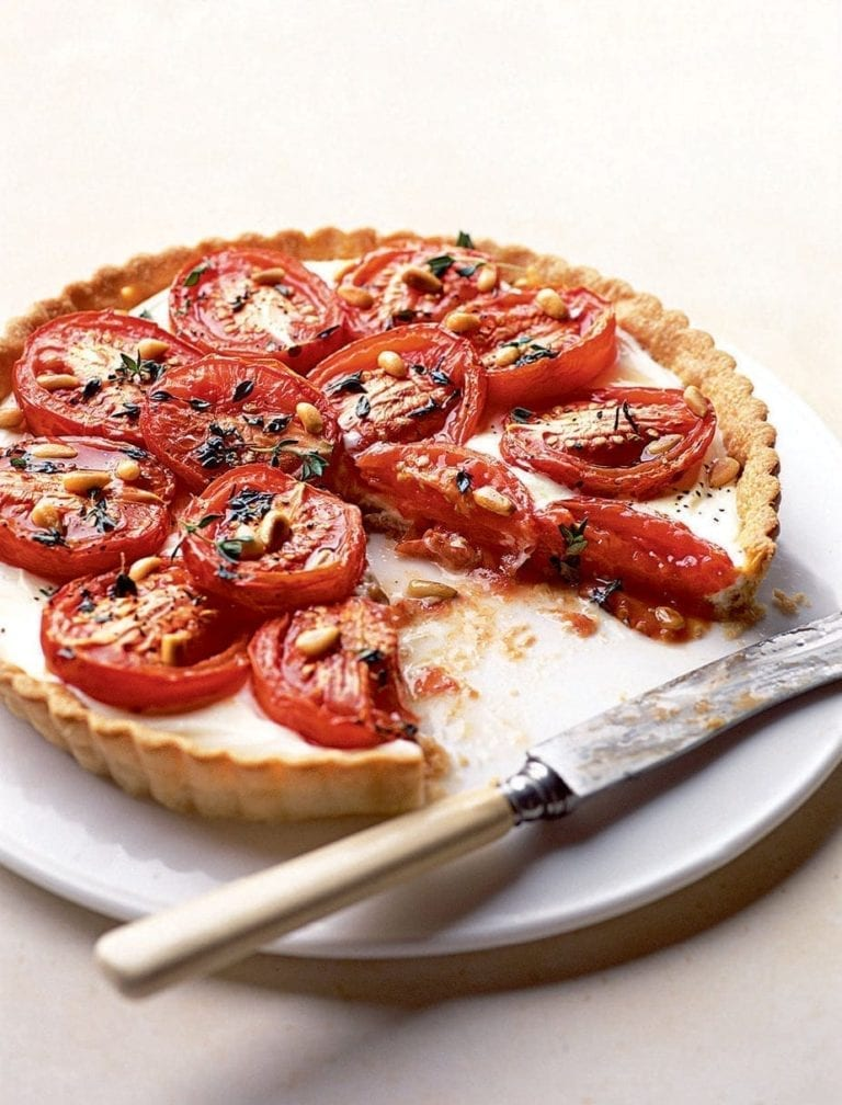Roasted tomato and creamy goat's cheese tart