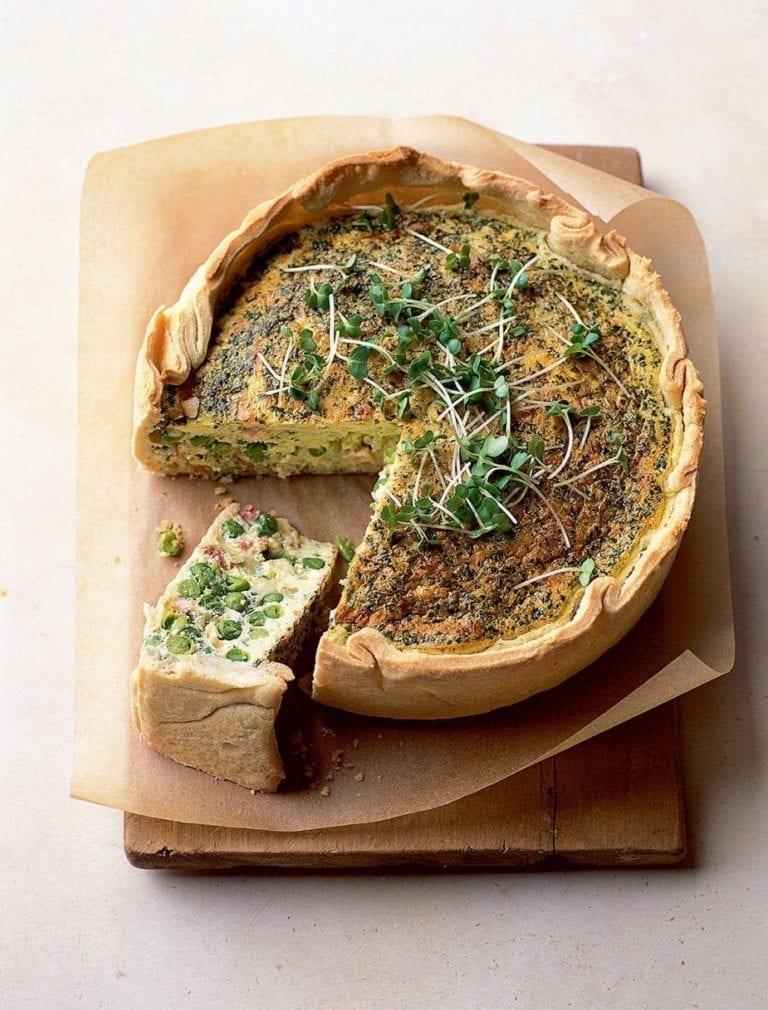 Pancetta, pea, mint and Cheddar deep tin tart