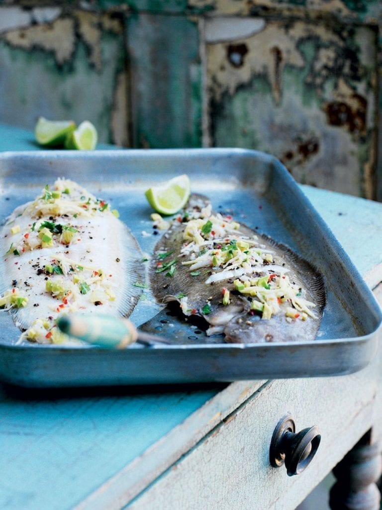 Grilled Dover sole with lime, coconut and avocado relish