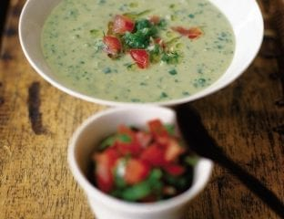 Chilled avocado soup with zingy salsa