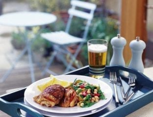 Chorizo chicken with chickpea and rocket salad